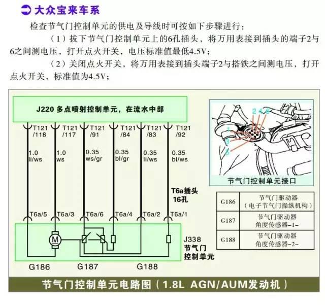 大众宝来系列节气门位置传感器检测数据
