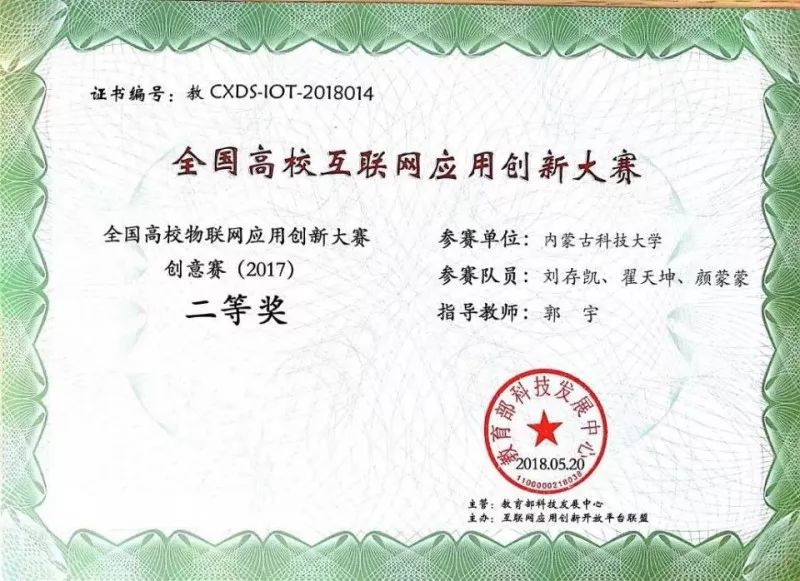 翟天坤、刘存凯等人在全国高校物联网应用创新大赛获佳绩