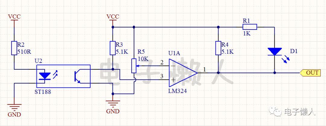 反射式红外#00光电传感器ST188应用电路