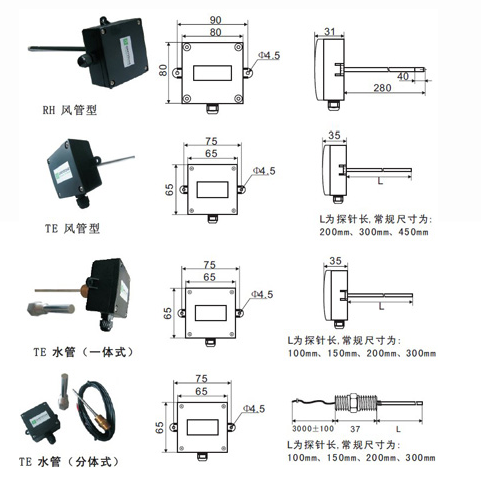管道型温湿度传感器与变送器TE/RH系列产品参数