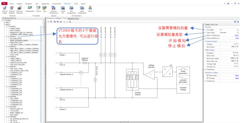 CANoe+VT系统模拟4种常见传感器