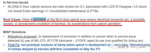 空客飞机主起落架舱门上锁传感器故障导致 ECAM警告