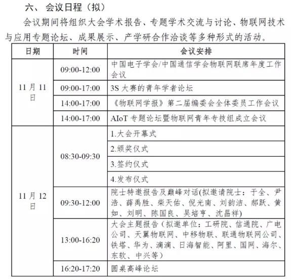 2019中国物联网大会通知